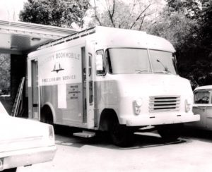 Black and white photo of the Kentucky Bookmobile